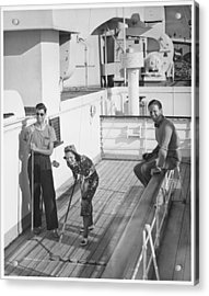 Woman And Two Men On Cruiser Deck, (b&w), Elevated View Acrylic Print by George Marks