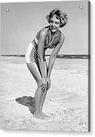 Woman At Beach Posing Acrylic Print by George Marks
