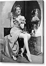 Woman At Dressing Table Holding Mirror Acrylic Print by George Marks