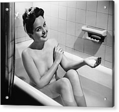 Woman Bathing, (b&w), Portrait Acrylic Print by George Marks