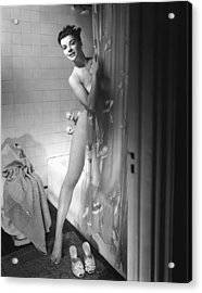 Woman Behind Shower Curtain Acrylic Print by George Marks