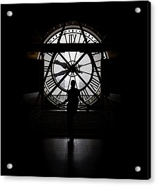 Woman Behind Time Acrylic Print