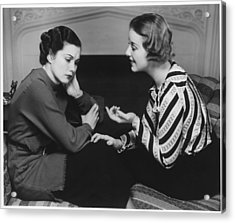 Woman Consoling Friend At Fireplace, (b&w) Acrylic Print by George Marks