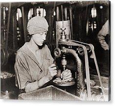 Woman Countersinking A Detonator Tube Acrylic Print by Everett