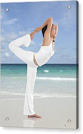 Woman Doing Yoga On The Beach Acrylic Print by Setsiri Silapasuwanchai