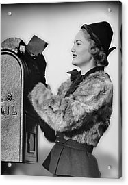 Woman Dropping Letter Into Mailbox Acrylic Print by George Marks