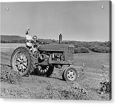 Woman Farmer Driving Tractor Acrylic Print by George Marks