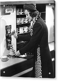Woman Getting Coffee At Old Fashioned Machine Acrylic Print by George Marks