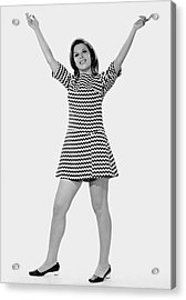 Woman Holding Arms Up In The Air Acrylic Print by George Marks