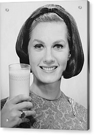 Woman Holding Glass Of Milk Acrylic Print by George Marks