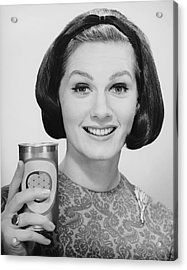 Woman Holding Up Can Of Beer Acrylic Print by George Marks