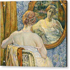 Woman In A Mirror Acrylic Print by Theo van Rysselberghe