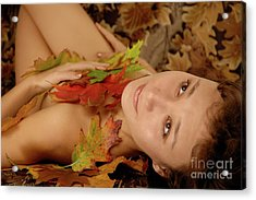 Woman In Fallen Leaves Acrylic Print by Oleksiy Maksymenko