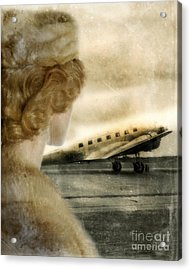 Woman In Fur By A Vintage Airplane Acrylic Print by Jill Battaglia