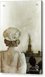 Woman In Hat Viewing The Statue Of Liberty  Acrylic Print by Jill Battaglia