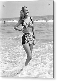 Woman In Surf Acrylic Print by George Marks