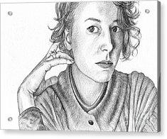 Woman In Sweater Acrylic Print