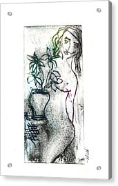 Woman In Waiting Acrylic Print by Lillian Michi Adams