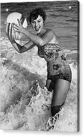Woman In Water W/beachball Acrylic Print by George Marks