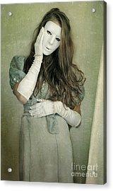 Woman In White Mask Wearing 1930s Dress Acrylic Print by Jill Battaglia