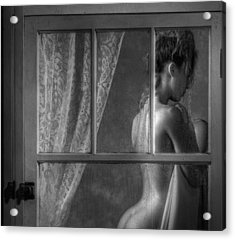 Woman In Window Acrylic Print by Ron Schwager