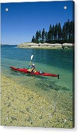 Woman Kayaking, Penobscot Bay, Maine Acrylic Print by Skip Brown
