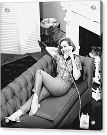 Woman Lying On Sofa, Talking On Phone, (b&w), Elevated View Acrylic Print by George Marks