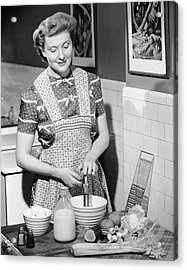 Woman Mixing Ingredients In Bowl Acrylic Print by George Marks