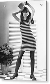 Woman Modeling Fashion Acrylic Print by George Marks