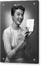 Woman Note Pad Posing In Studio, (b&w), Portrait Acrylic Print by George Marks
