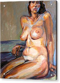 Woman Nude Acrylic Print by Stan Esson