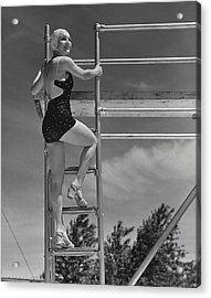 Woman On Diving Board Acrylic Print by George Marks