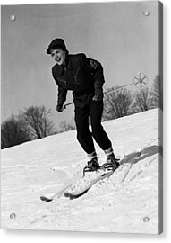 Woman On Ski Slopes Acrylic Print by George Marks