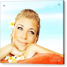 Woman On Spa Massage Bed On The Beach Acrylic Print by Anna Om