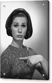 Woman Pointing On Herself In Studio, (b&w), Portrait Acrylic Print by George Marks
