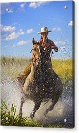 Woman Riding A Horse Acrylic Print by Richard Wear