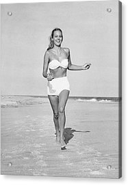 Woman Running On Beach Acrylic Print by George Marks