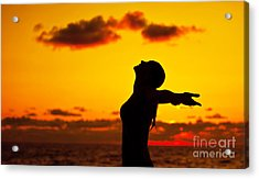 Woman Silhouette Over Sunset Acrylic Print by Anna Om