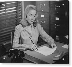 Woman Sitting At Desk, Writing Letter, (b&w) Acrylic Print by George Marks