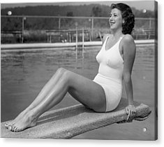 Woman Sitting On Divingboard Acrylic Print by George Marks
