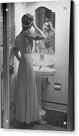 Woman Suffering Headache Standing In Front Of Bathroom Mirror, (b&w) Acrylic Print by George Marks