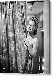 Woman Taking Shower Acrylic Print by George Marks