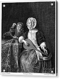 Woman Tuning A Lute Acrylic Print by Granger