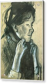 Woman Tying The Ribbons Of Her Hat Acrylic Print by Edgar Degas