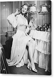 Woman W/ Bottle Of Perfume Acrylic Print by George Marks