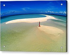 Woman Walking Along Sand Bar At A Tropical Beach In Malaysian Borneo's Sipadan-kapali-mabul Region Acrylic Print by Tim Rock