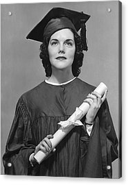 Woman Who Graduated Acrylic Print by George Marks