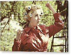 Woman With Rain Coat And Curlers Acrylic Print by Joana Kruse