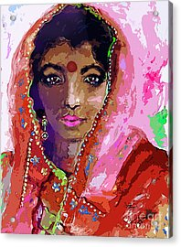 Woman With Red Bindi Indian Beauty Acrylic Print by Ginette Callaway