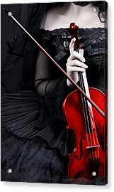 Acrylic Print featuring the photograph Woman With Red Violin by Ethiriel  Photography